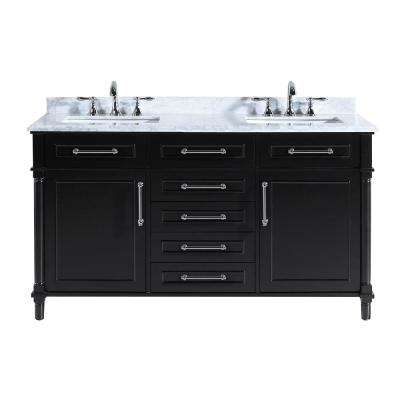 Aberdeen 60 in. W x 22 in. D Vanity in Black with Marble Top in White with white Basin