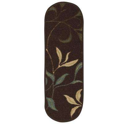 Ottohome Collection Dark Brown 9 in. x 26 in. Polypropylene Oval Stair Tread Cover (Set of 14)