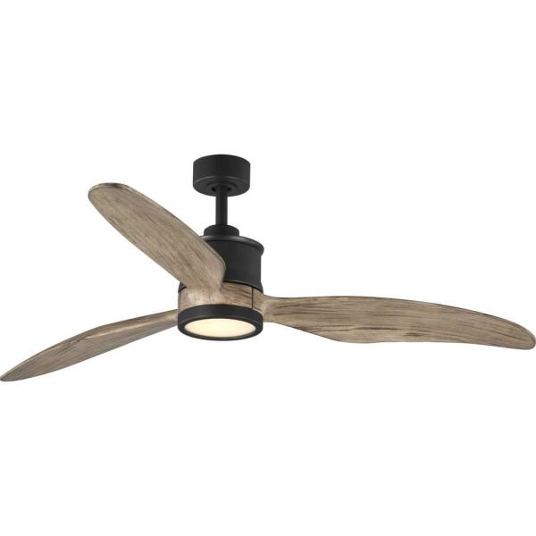 Progress Lighting Oriole 3 Blade 60 In Integrated Led Black Ceiling Fan With Light Kit P2592 3130k The Home Depot