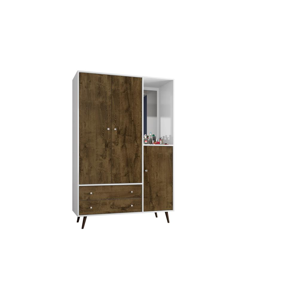 Manhattan Comfort Liberty 47.83 in. Mid Century White and Rustic Brown Modern Armoire with Mirror, 4-Shelves, 2-Draweres and Hanging Rod