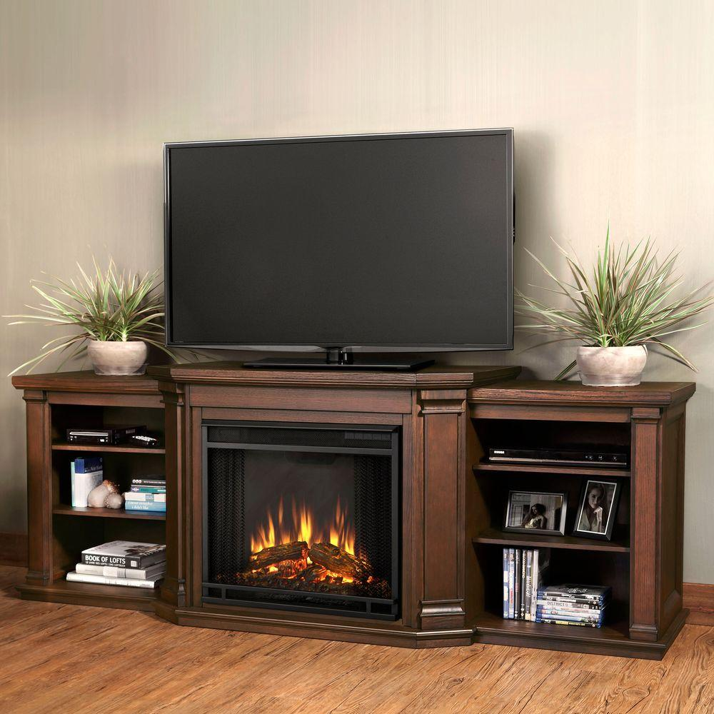 Valmont 76 in. Media Console Electric Fireplace TV Stand in Chestnut