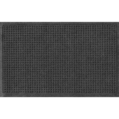Squares 23 in. x 35 in. PET Polyester Doormat Charcoal