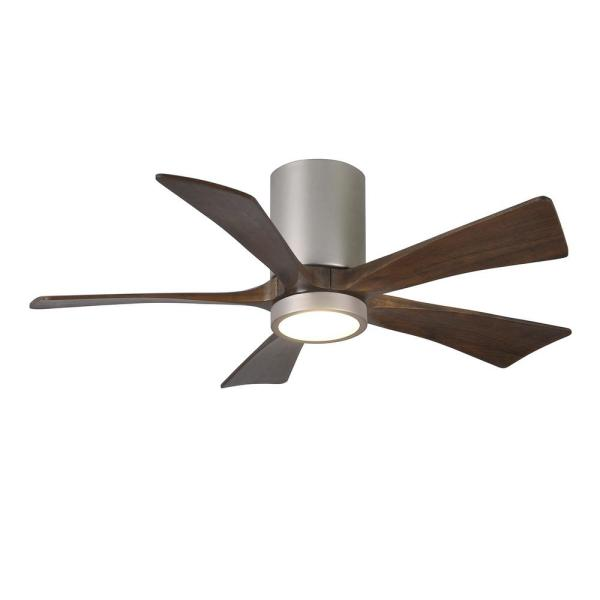 Irene 42 in. LED Indoor/Outdoor Damp Brushed Nickel Ceiling Fan with Remote Control, Wall Control