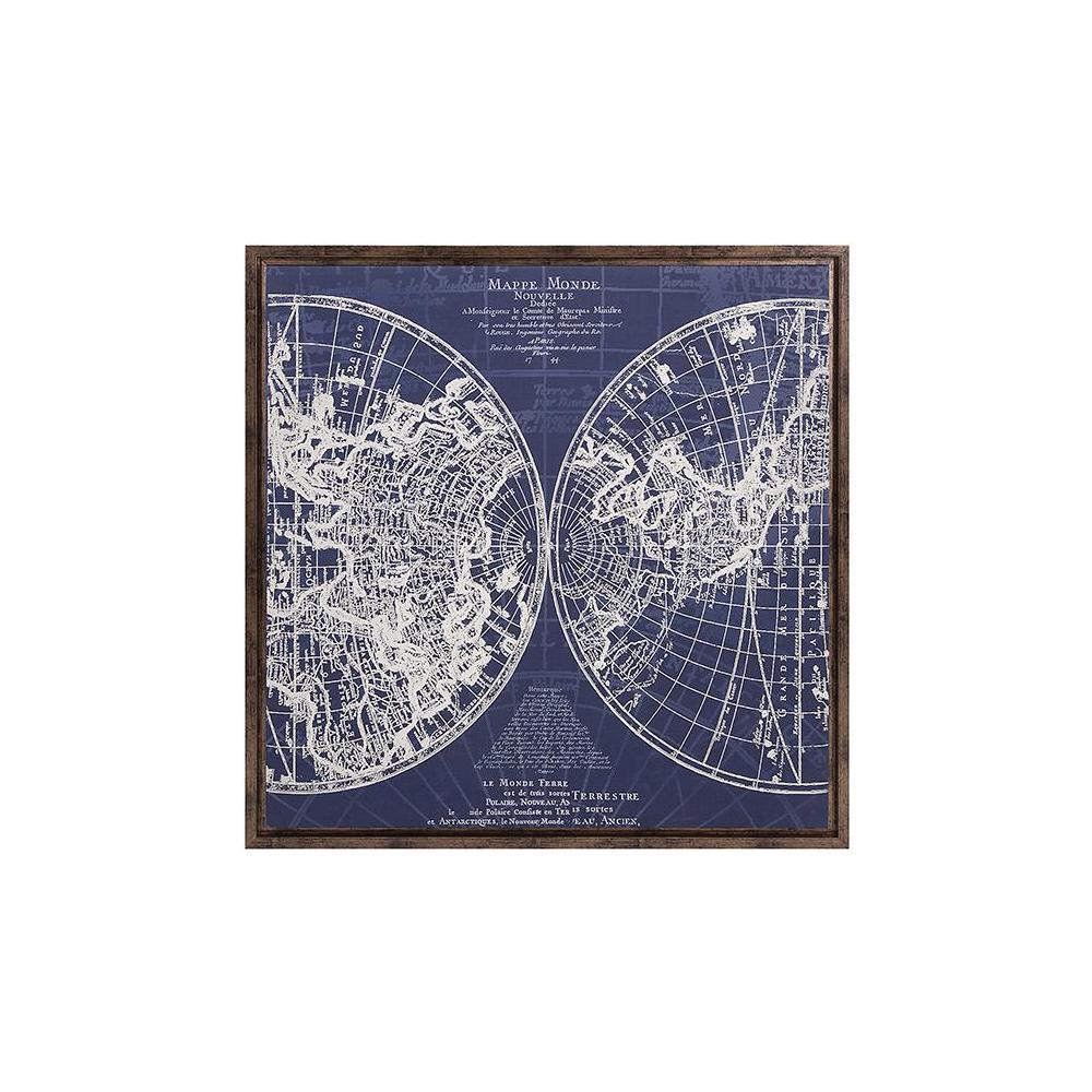 """34 in. x 34 in. """"Mappe Monde"""" Framed Wall Art"""
