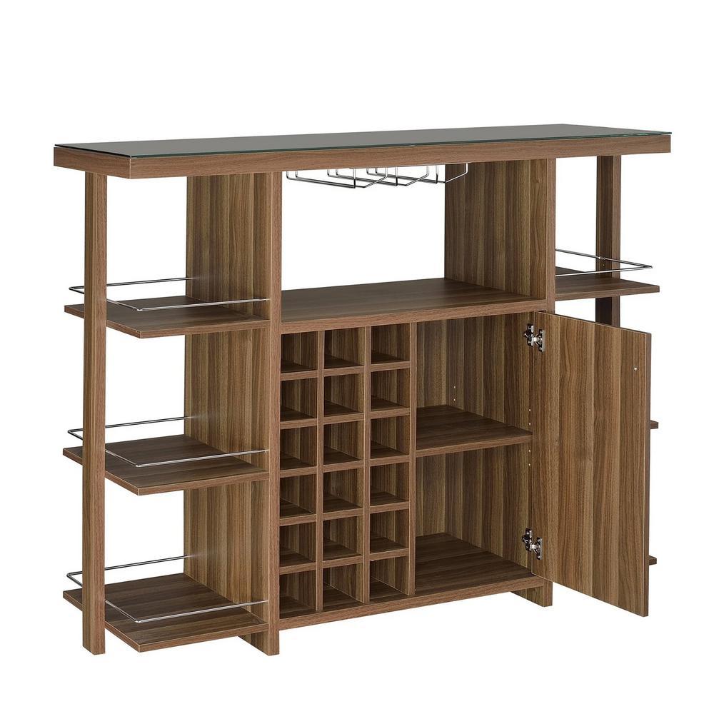 """Sturdy Modern Bar Unit with Wine Bottle Storage 15.5"""" L x 54"""" W x 43"""" H"""