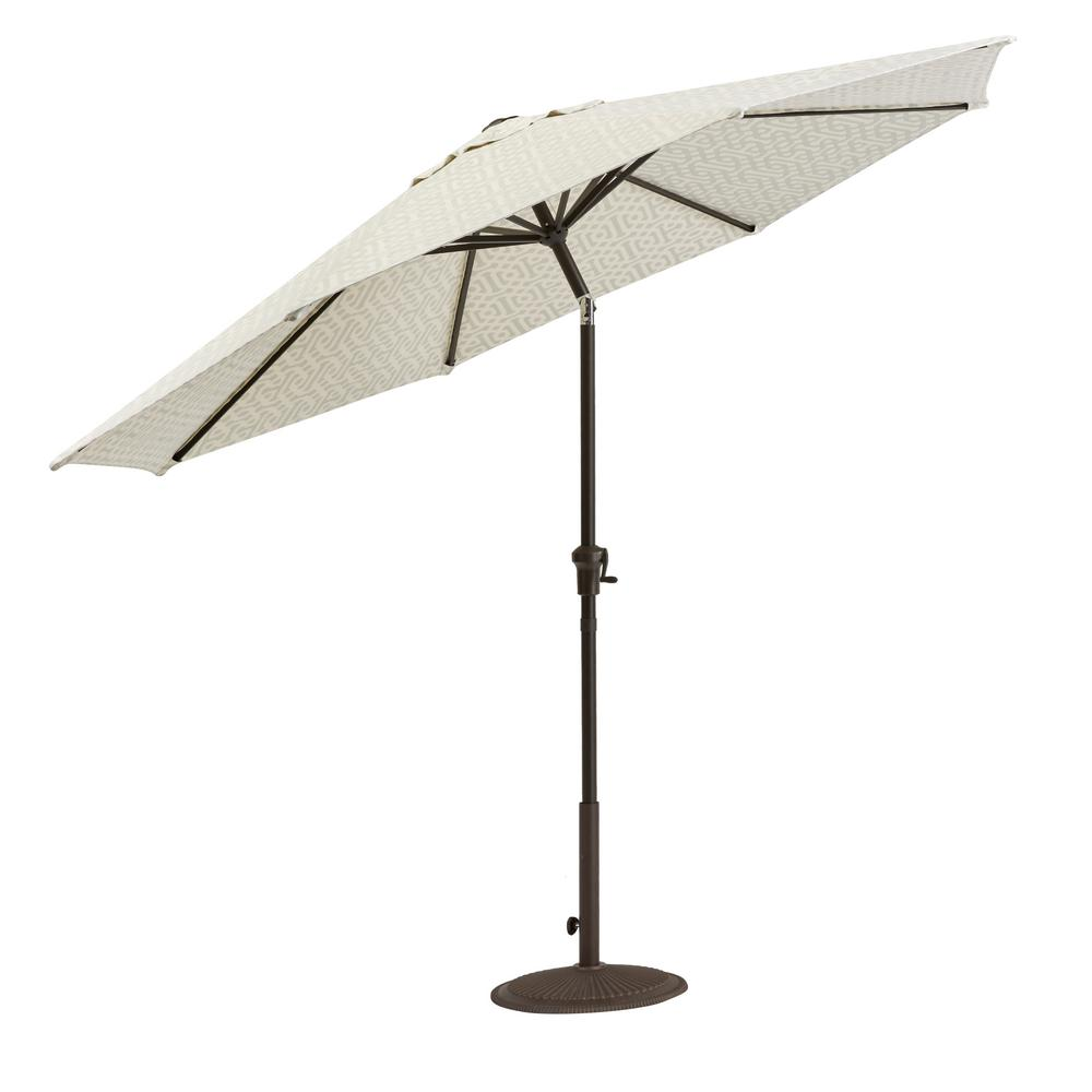 Home Decorators Collection Camden 9 ft. Aluminum Crank Patio Umbrella in Fretwork Flax