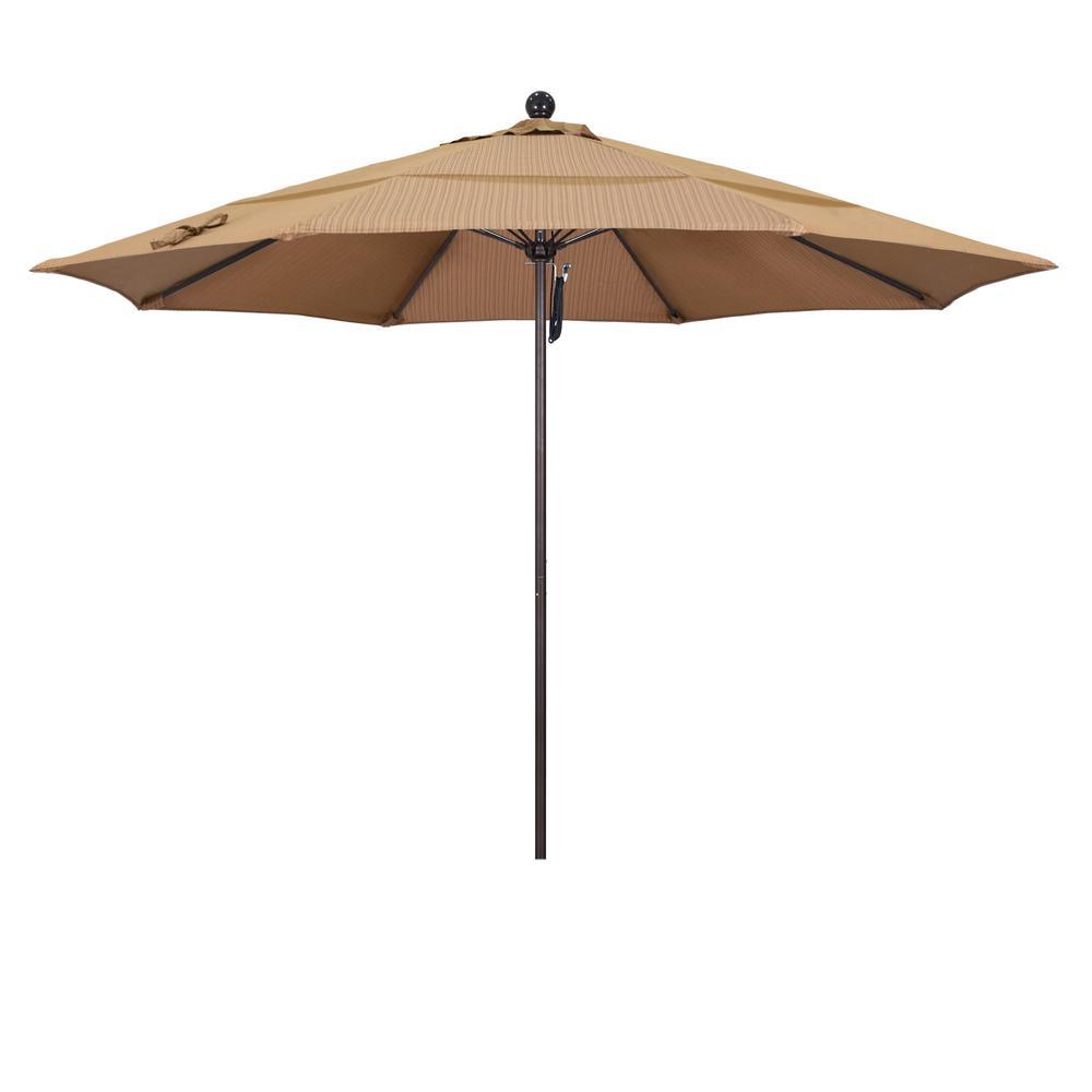 11 ft. Bronze Aluminum Market Fiberglass Ribs Pulley Lift Outdoor Patio Umbrella in Terrace Sequoia Olefin