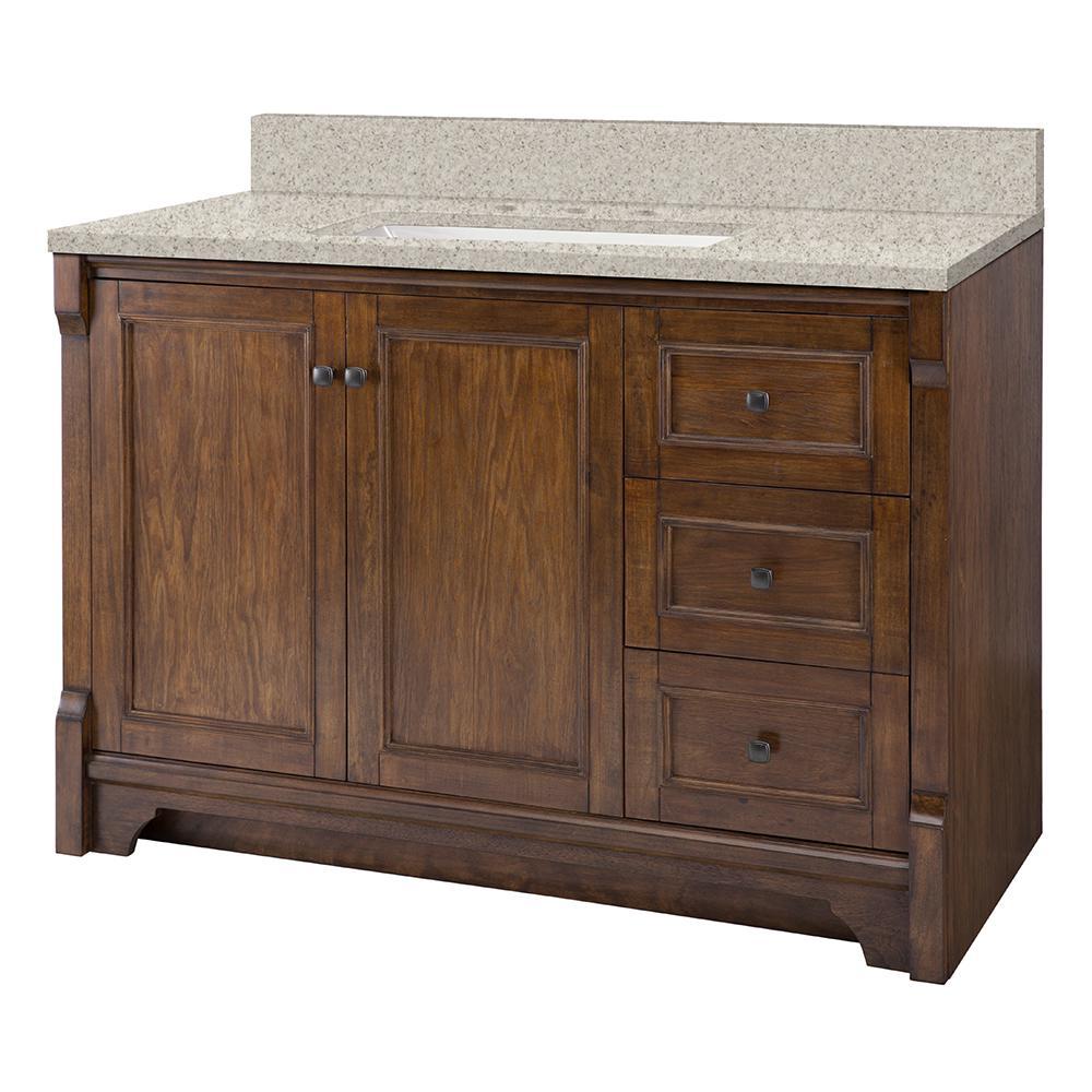 Home Decorators Collection Creedmoor 49 in. W x 22 in. D Vanity in Walnut with Engineered Marble Vanity Top in Sedona with White Sink