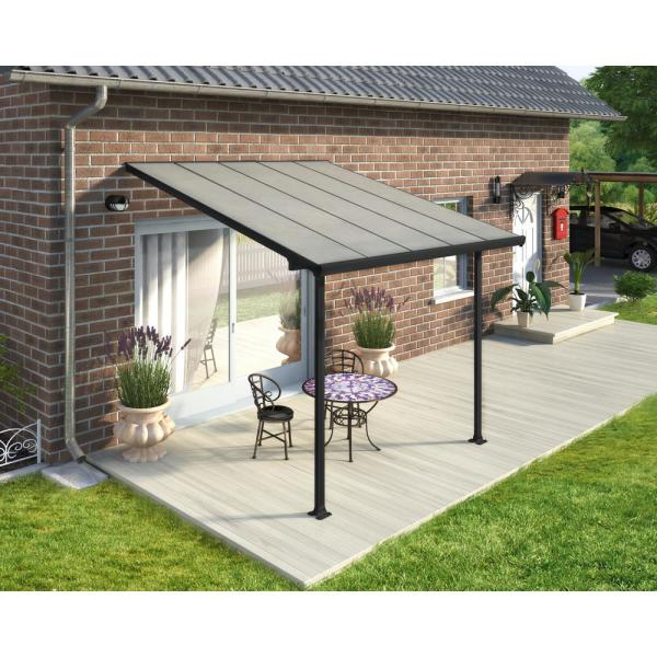 Palram Feria 10 Ft X 10 Ft Grey Patio Cover Awning 702722 The Home Depot