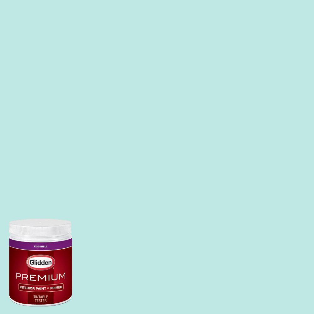 Glidden Premium 8 Oz Hdgb16u Bay Blue Eggshell Interior Paint Sample With Primer Hdgb16up 08en