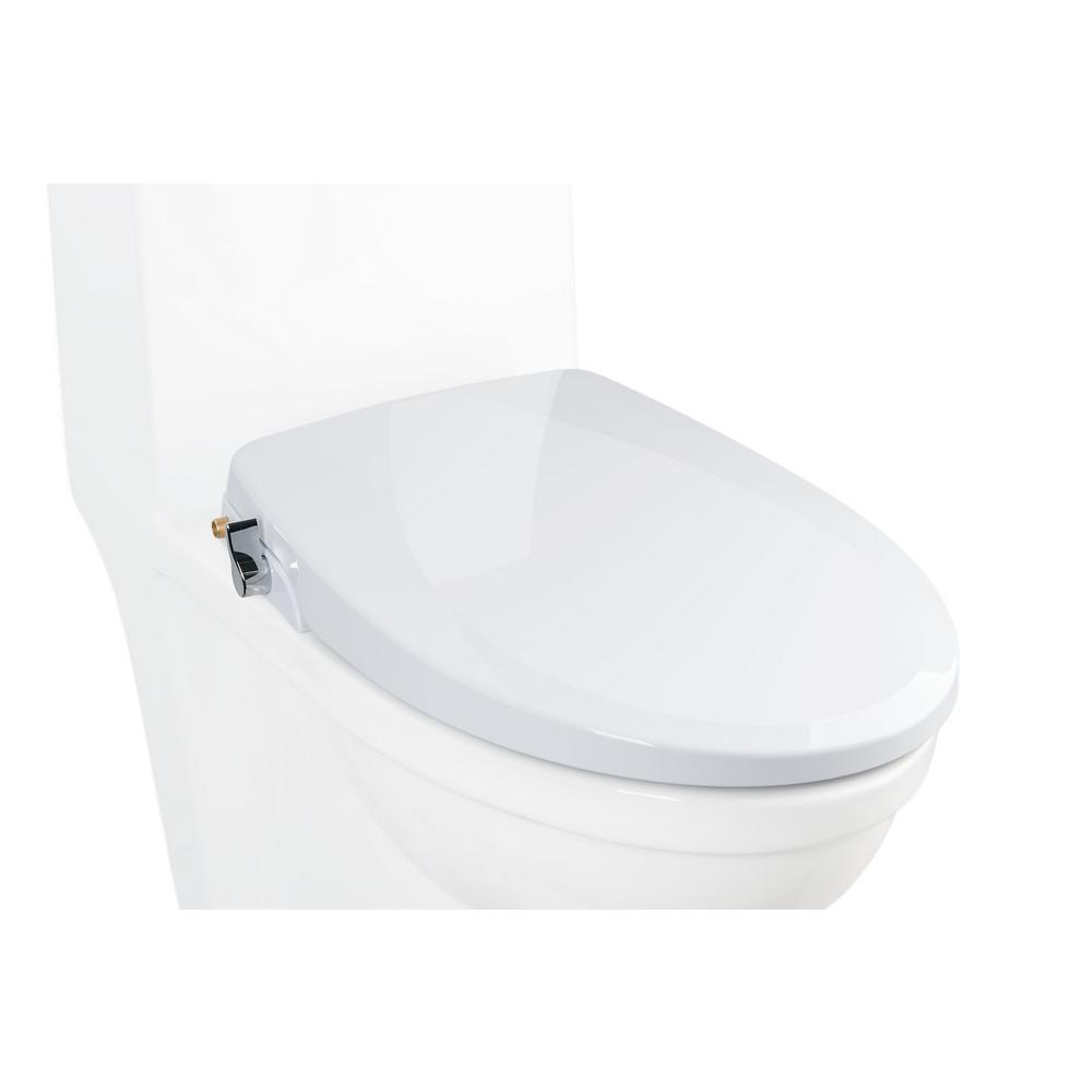 Alpha Bidet Non Electric Bidet Seat For Elongated Toilets In White Onev2 The Home Depot