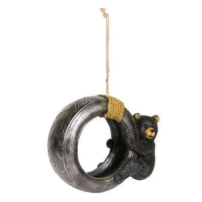 8 in. Tall Bear Swinging on Tire Bird Feeder