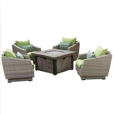 Cannes 5-Piece Patio Fire Pit Seating Set with Ginkgo Green Cushions