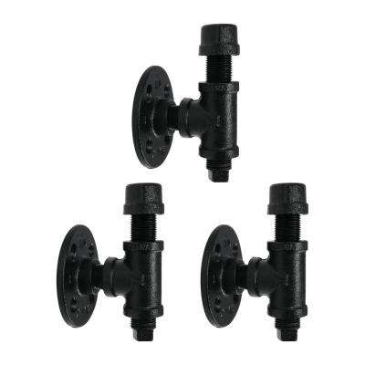 Set of 3 Wall Mount Industrial Robe and Towel Hook Kit by Pipe Decor in Black Electroplated Iron, Oil and Rust Free