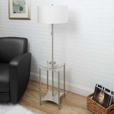 Alyssa 56.5 in. Brushed Nickel Floor Lamp with Linen Shade