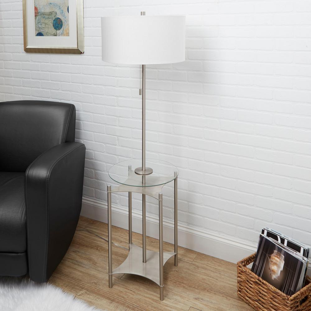 Alyssa 56.5 in. Brushed Nickel Floor Lamp with Linen Shade