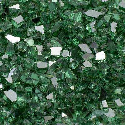 1/2 in. 10 lb. Medium Green Reflective Tempered Fire Glass