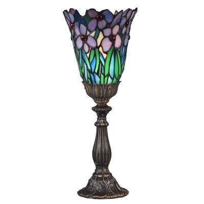 Meadowbrook 15.5 in. Antique Brass Accent Lamp with Hand Blown Art Glass Shade