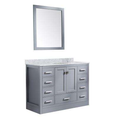 Chateau 48 in. W x 36 in. H Skirted Bath Vanity in Gray with Vanity Top in Carrara White with White Basin and Mirror