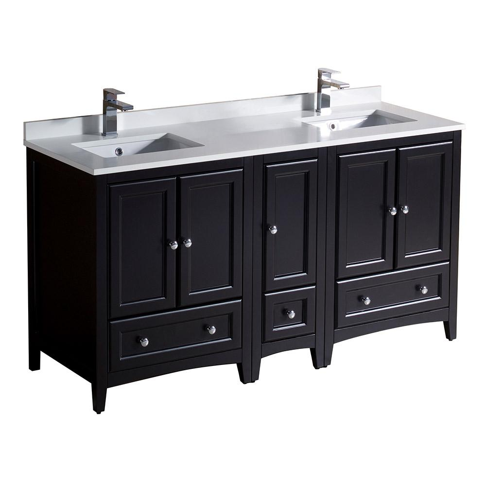 Fresca oxford 60 in double vanity in espresso with quartz for Vanity top cabinet