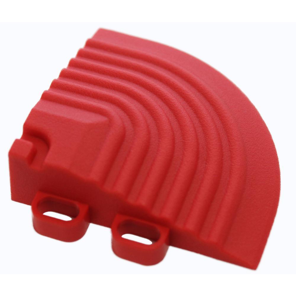 2.5 in. x 2.5 in. Racing Red Corner Edging for 15.75 in. Swisstrax Modular Tile Flooring (2-Pack)