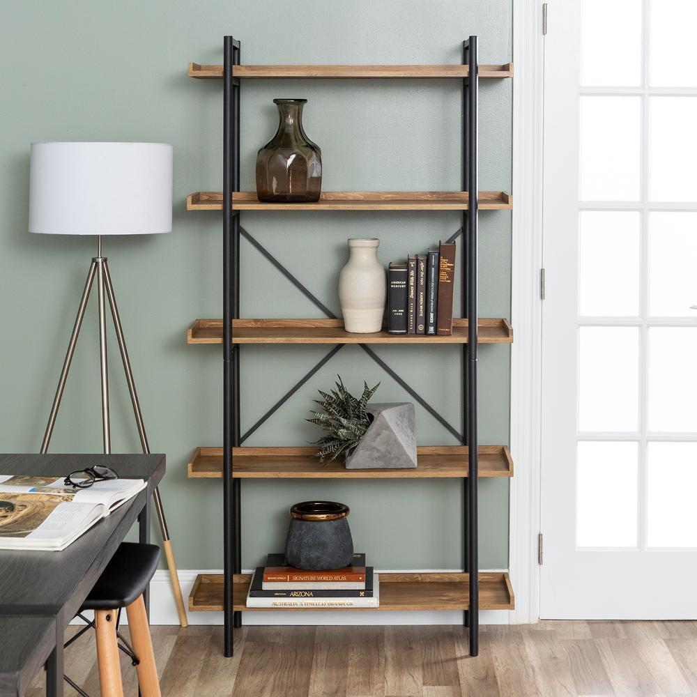 68 in. Barnwood/Black Metal 5-shelf Etagere Bookcase with Open Back