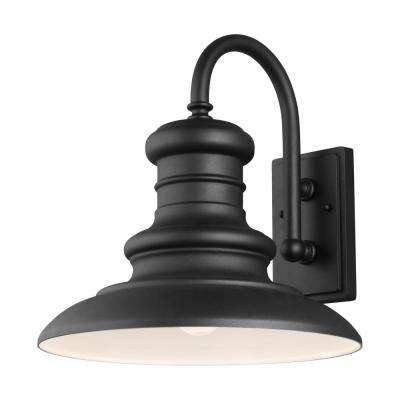Redding Station 15 in. 1-Light Textured Black Outdoor 15.625 in. Wall Lantern Sconce