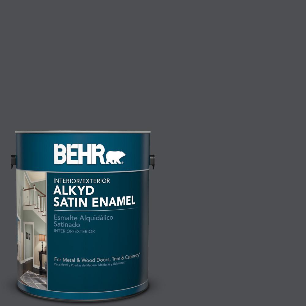 1 gal. #PPU18-1 Cracked Pepper Satin Enamel Alkyd Interior/Exterior Paint