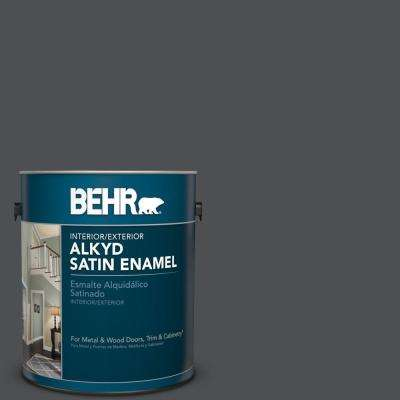 1 gal. #PPU18-01 Cracked Pepper Satin Enamel Alkyd Interior/Exterior Paint