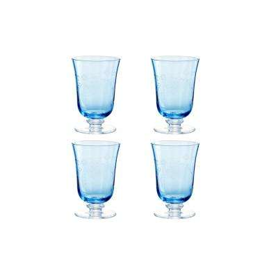 Arcadia 12 oz. Blue Etched Water Glass (Set of 4)
