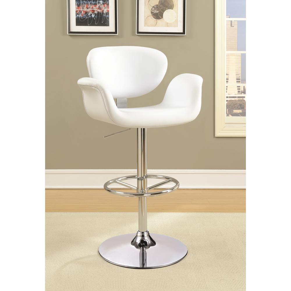 Rec Room Adjustable Height White Leatherette U-Shaped Seat Bar Stool