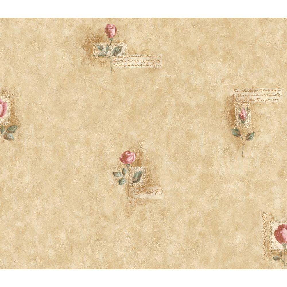 The Wallpaper Company 56 sq. ft. Red and Tan Rose Script Wallpaper-DISCONTINUED