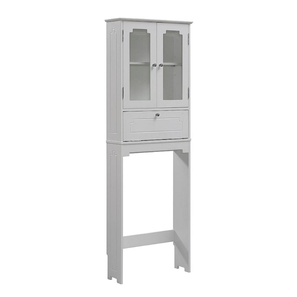 runfine etagere 24 in w x 69 in h x 8 in d over the toilet storage cabinet in white rfbw01011. Black Bedroom Furniture Sets. Home Design Ideas