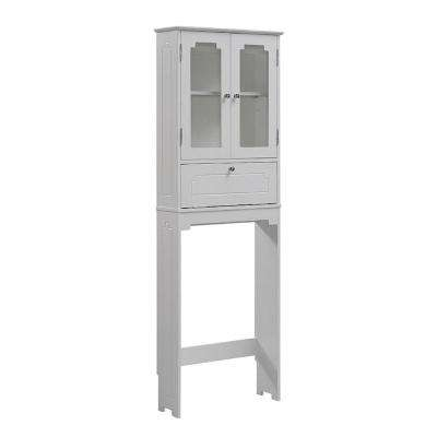 Etagere 24 in. W x 69 in. H x 8 in. D Over the Toilet Storage Cabinet in White