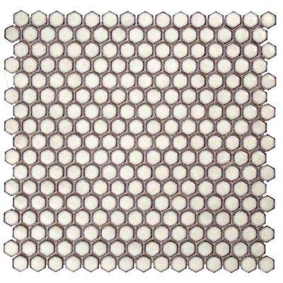 Bliss Edged Hexagon Eskimo 12 in. x 12 in. x 10 mm Polished Ceramic Mosaic Tile