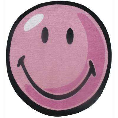 Smiley Pink 3 ft. Round Area Rug