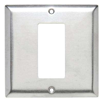 302 Series 2-Gang Single Hole Decorator Wall Plate in Stainless Steel