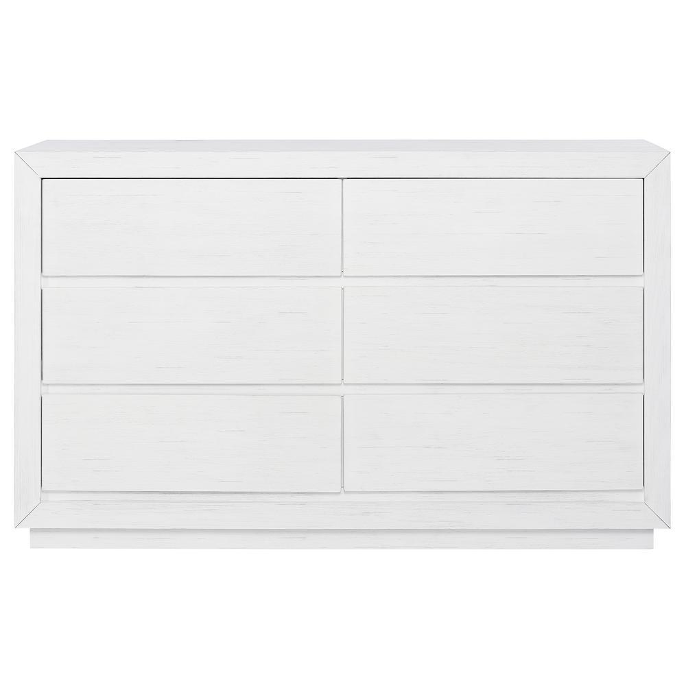 Maddox Weathered White Dresser (6-Drawer)