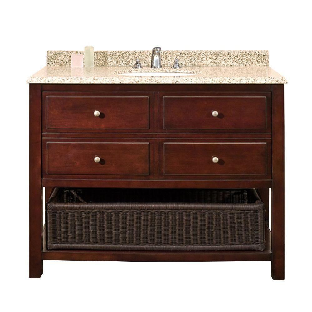 Pleasant Ove Decors Danny 42 In W X 21 In D Vanity In Chocolate With Granite Vanity Top In Beige With White Basin Download Free Architecture Designs Intelgarnamadebymaigaardcom