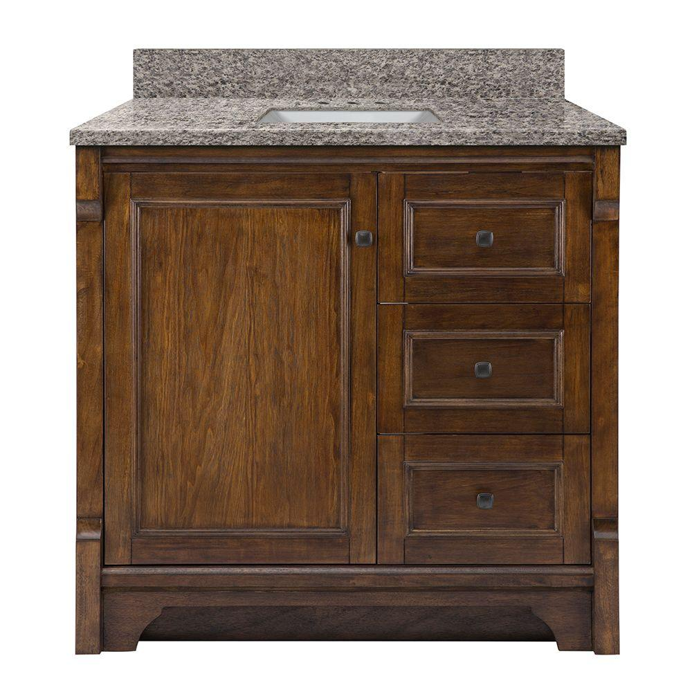 Home Decorators Collection Creedmoor 37 in. W x 22 in. D Vanity in Walnut with Granite Vanity Top in Sircolo with White Sink was $999.0 now $699.3 (30.0% off)