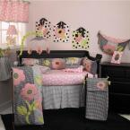 Poppy 8-Piece Black, Pink and White Floral and Striped Crib Bedding Set