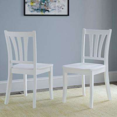 Dillon White Solid Wood Curved Vertical Salt Backrest Dining Chairs (Set of 2)