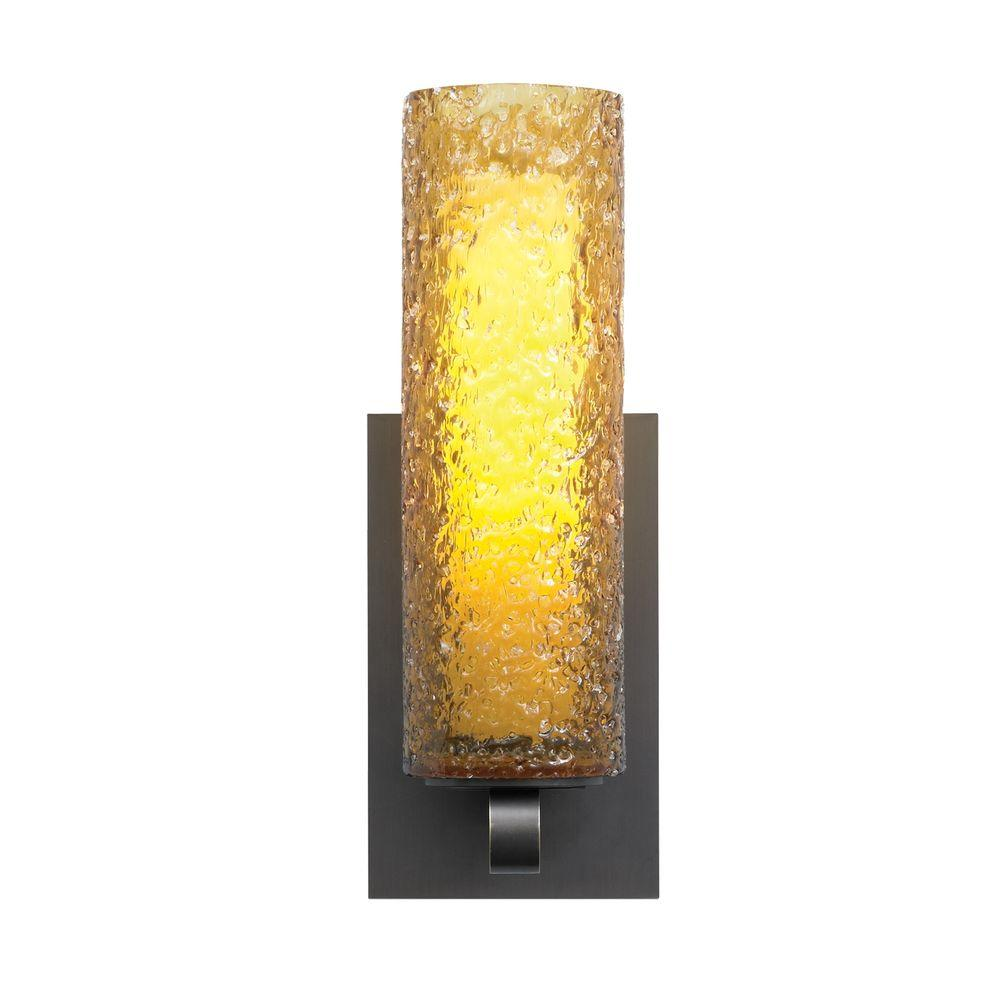 Mini-Rock Candy Cylinder 1-Light Bronze Halogen Wall Light with Amber Shade