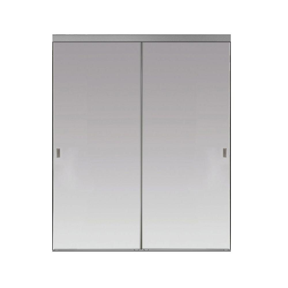 Impact Plus 48 in. x 80 in. Beveled Edge Backed Mirror Aluminum Frame Interior Closet Sliding Door with Chrome Trim