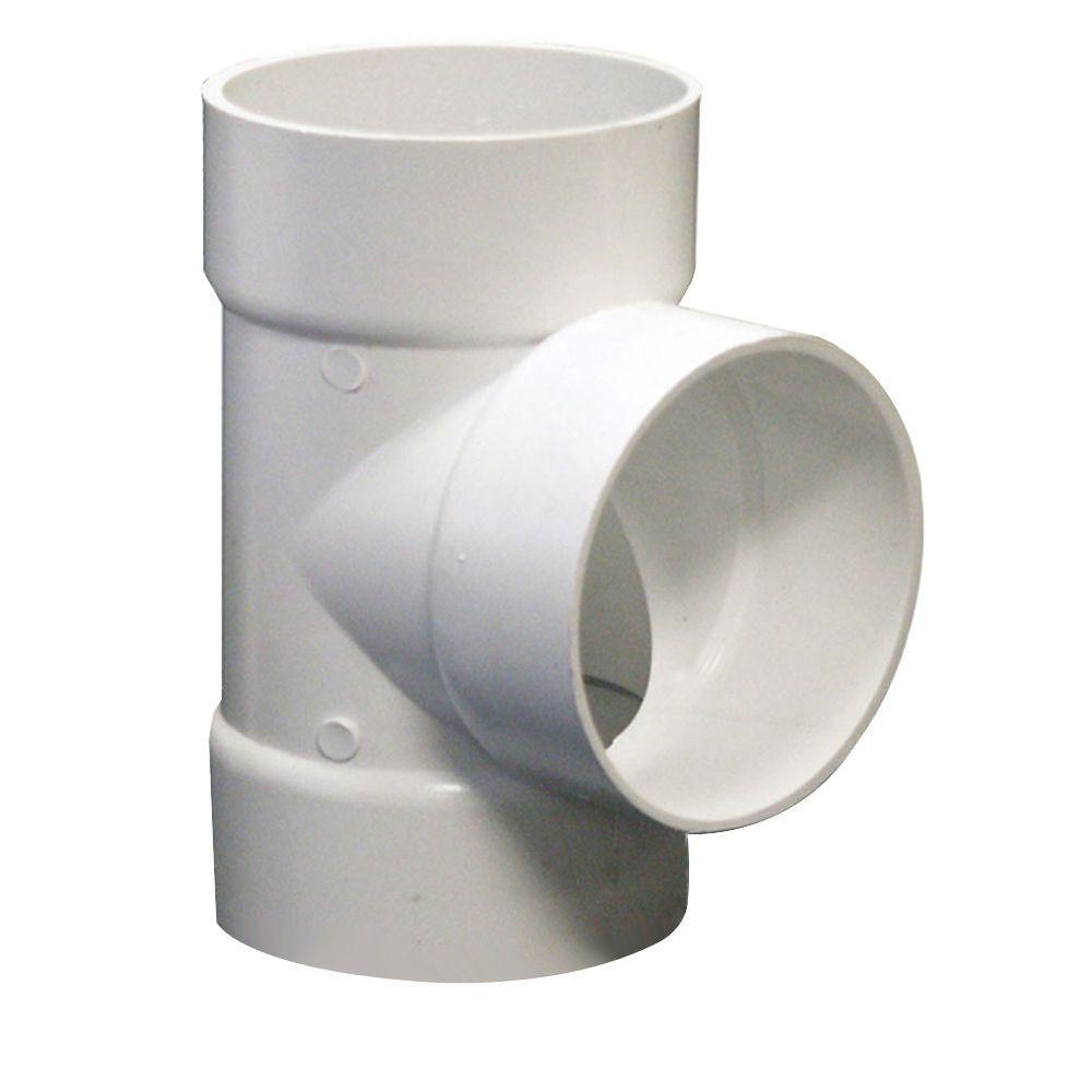 NDS 6 in. PVC Sewer and Drain Hub x Hub x Hub Tee
