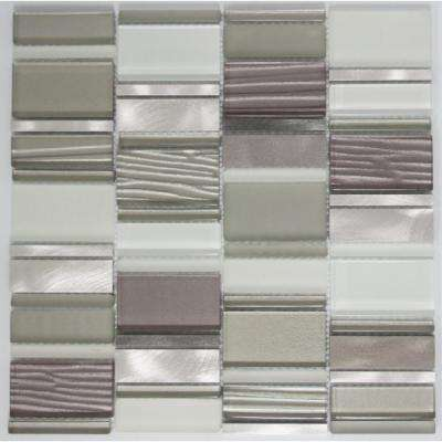 12 in. x 12 in. x 8 mm Tile Esque Silver Grey and White Rectangle Mesh-Mounted Mosaic Tile
