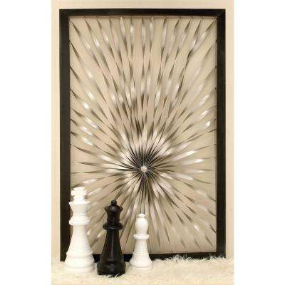 60 in. x 40 in. Contemporary Silver Twisted Nickel Sunburst Wall Decor