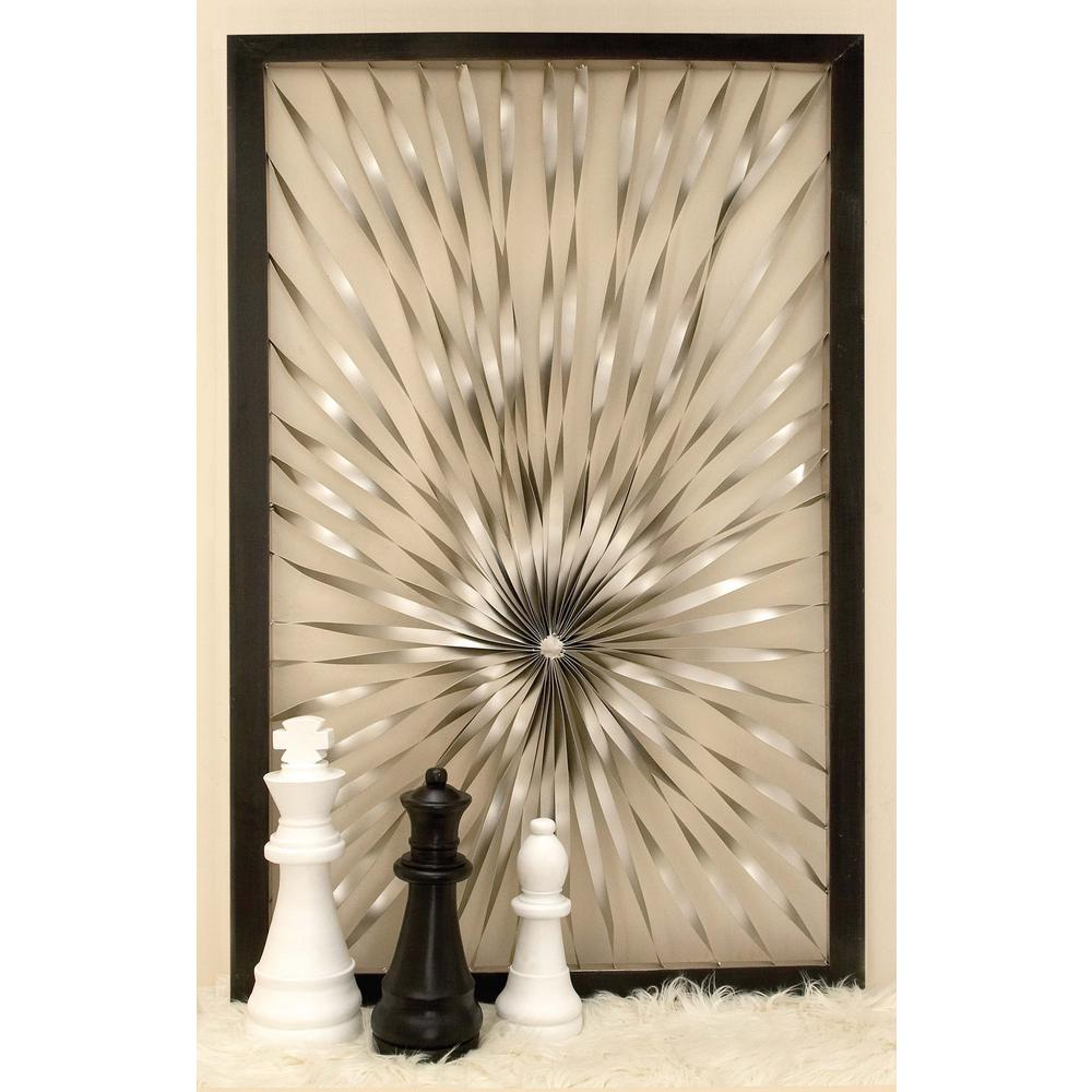 Contemporary Silver Twisted Nickel Sunburst Wall Decor