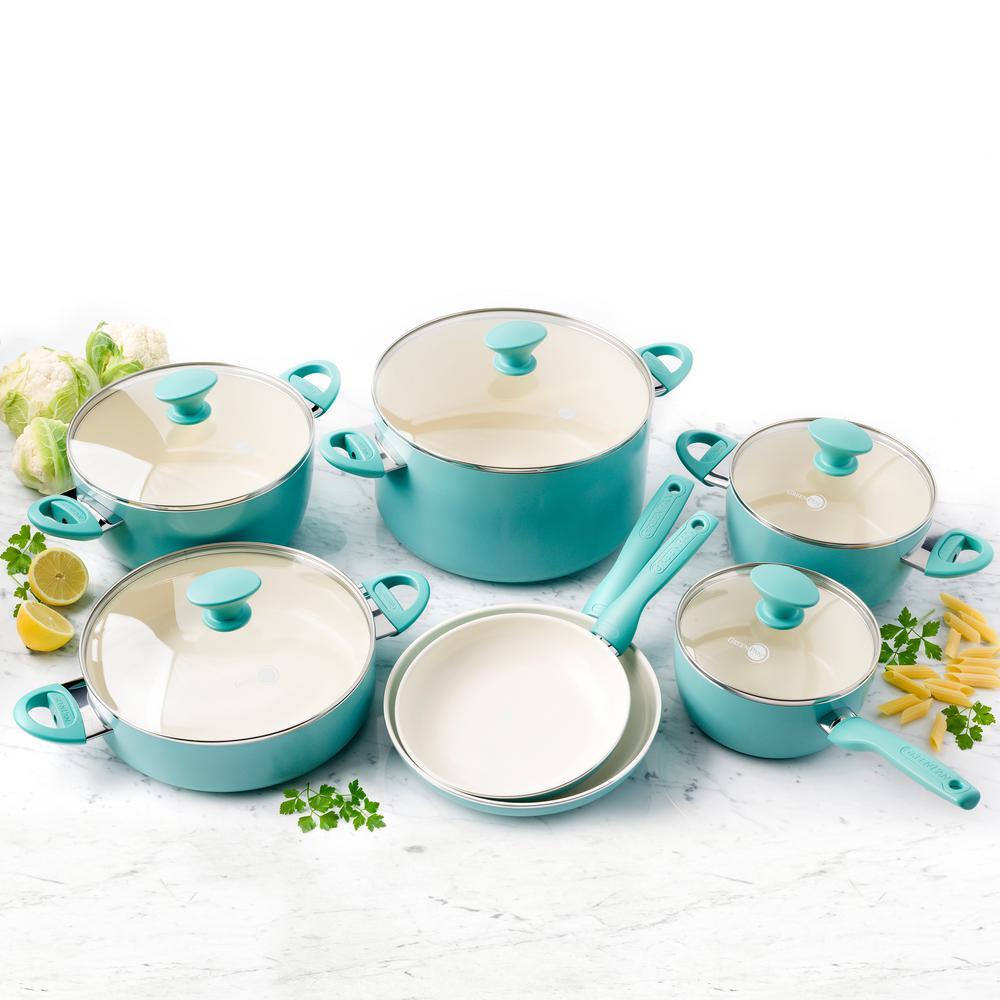 GreenPan Rio Ceramic Nonstick 12-Piece Cookware Set by GreenPan
