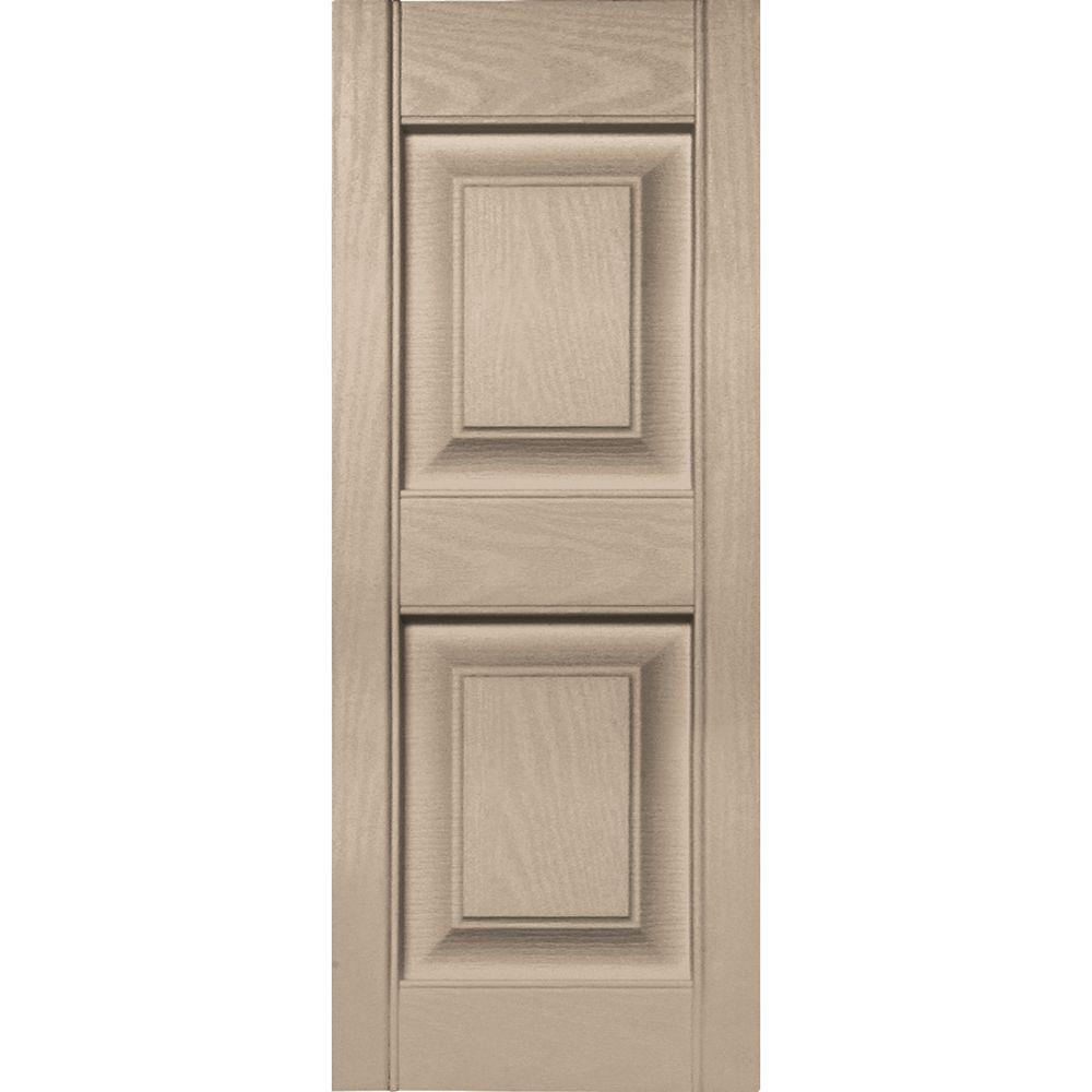 12 in. x 31 in. Raised Panel Vinyl Exterior Shutters Pair